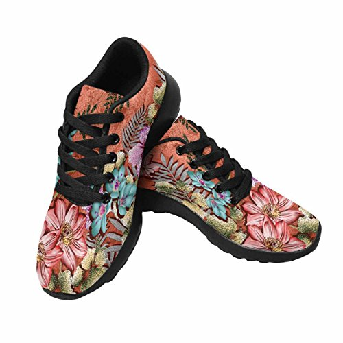 InterestPrint Womens Jogging Running Sneaker Lightweight Go Easy Walking Comfort Sports Running Shoes colorful Design With Flower Multi 1 C1Hq2Z