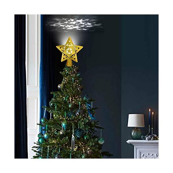 Sulida Luce superiore dell'albero di Natale, stella brillante cava 3D, decorazione per albero di Natale, albero di Natale, proiettore di stella girevole LED luci (oro) 3 spesavip