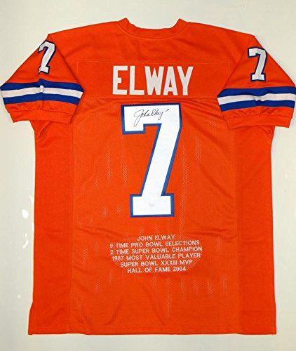 John Elway Autographed Orange Pro Style STAT Jersey- JSA Witnessed Auth