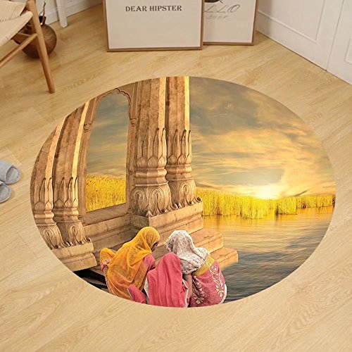 Gzhihine Custom round floor mat Ancient India Women in a Temple Holy Heritage Architecture Arabesque Picture Bedroom Living Room Dorm Earth Yellow Pink by Gzhihine
