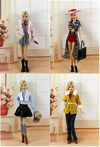 New 4 PCS Fashion Handmade Clothes/Outfit For Barbie