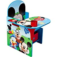 Disney Chair Desk With Storage Bin Mickey Mouse Characters Desk Set Fabric Storage Bin Seat Extra Storage Table Desk Chair MDF Construction Assembly Required Sits Low Children Furniture