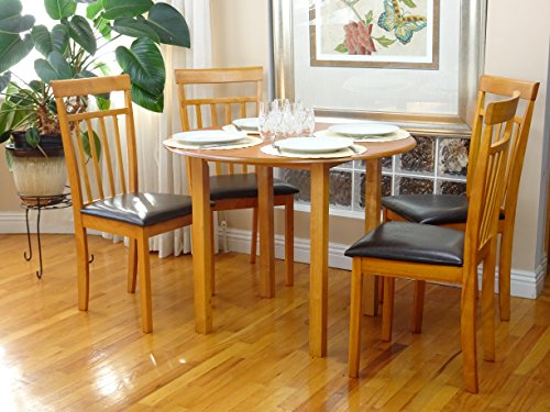 Dining Kitchen Set 5 Pcs Classic Round Table and 4 Solid Wooden Chairs Warm Maple Finish - Maple Finish Dining Table