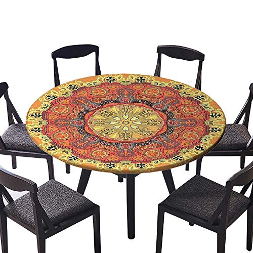 - Simple Modern Round Table Cloth Floral Mandala Pattern with Leaves Kaleidoscope Art Ethnic Theme Home Zen Decor for Daily use, Wedding, Restaurant 35.5
