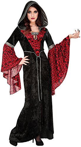 Family Vampire Costumes (Rubie's Costume Co Women's Cryptisha Hooded Dress Costume, Black/Red, Small)