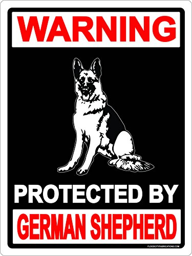 German Shepherd Metal Sign Danger Protected By 9x12 Aluminum Dog Keep Out Warning Animal House Garage Business (German Shepherd Sign)