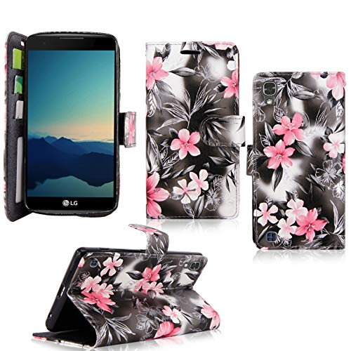 LG X Power Case / LG K6P Case, Cellularvilla [Slim Fit] [Card Slot] Premium Leather Wallet Case [Drop Protection] Book Style Flip Protective Stand Cover For LG X Power / K6P / K210 (Black Pink Flower)