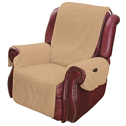 MSR Imports Recliner Chair Cover One Piece w/Armrests and Pockets,Beige,75 in. x 23 in.