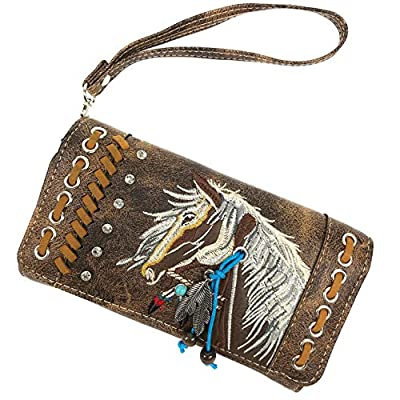 Justin West Dales Pony Horse Embroidery Mane Western Country Women's Crossbody Wallet