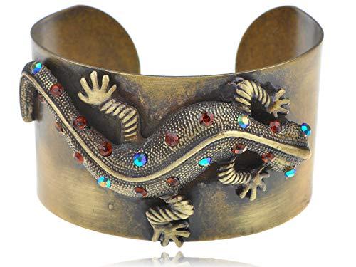- ChicGift Bronze Gold Amber Metallic Blue Rhines Lizard Chic Bracelet