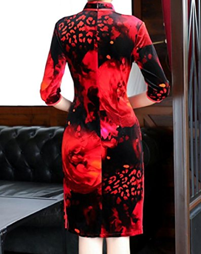 Coolred-femmes Simples Imprimé Soir Velour Chinois Cheongsam Robe Comme Image