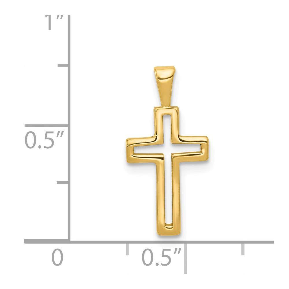 19mm x 10mm Mia Diamonds 14k Yellow Gold Cross Charm