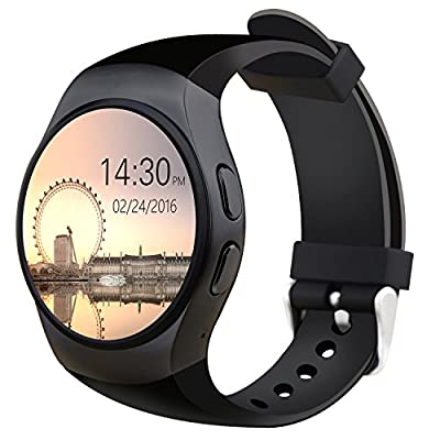 Otium Smart Watch, All-in-1 Bluetooth Wrist Smart Watches with Camera Heart Rate Support SIM TF Card for Android Sony LG Smart Phones iOS iPhone