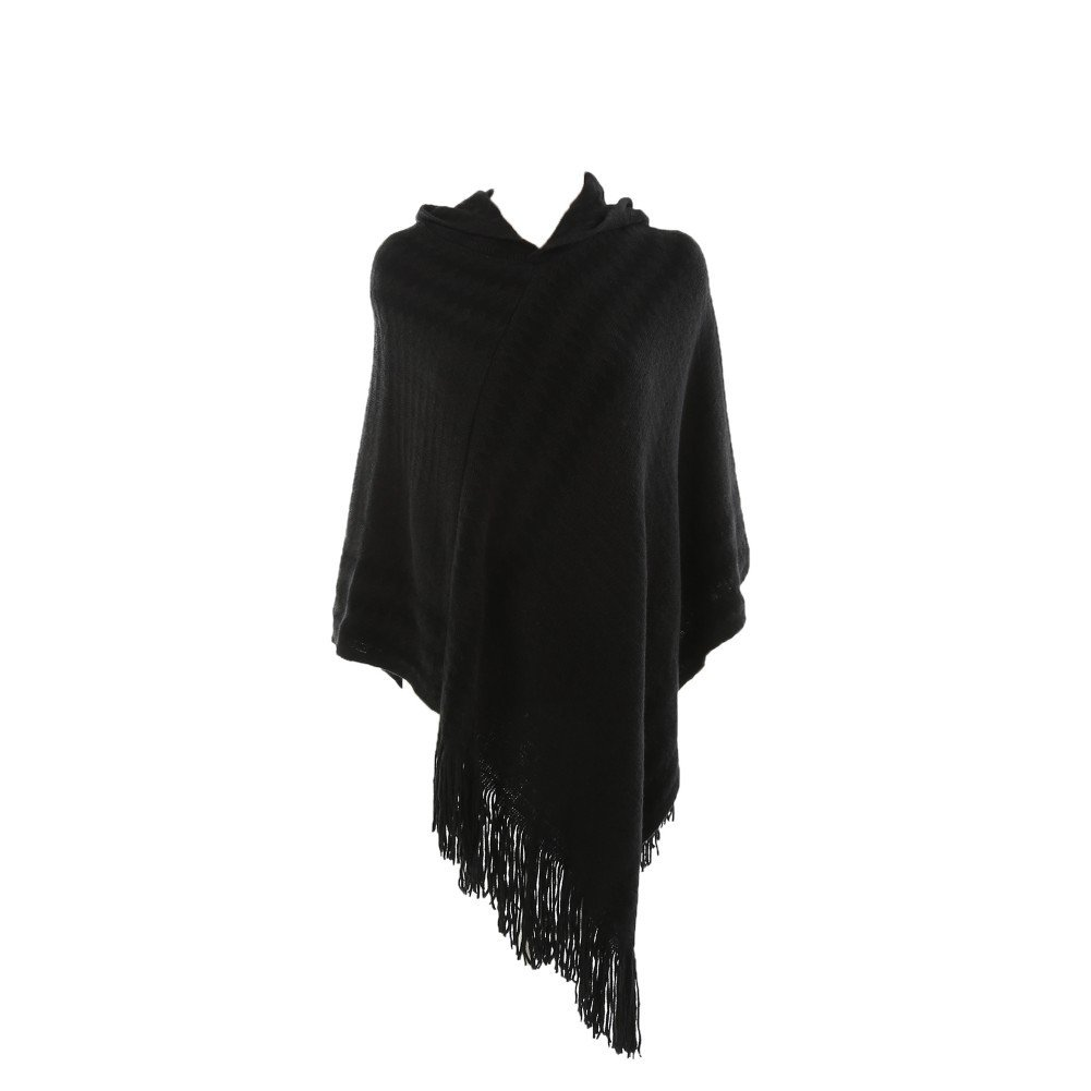 Hankyky Women's Winter Thick Striped Hooded Knit Wrap Poncho Pullover Cape Pashmina With Fringed Hem