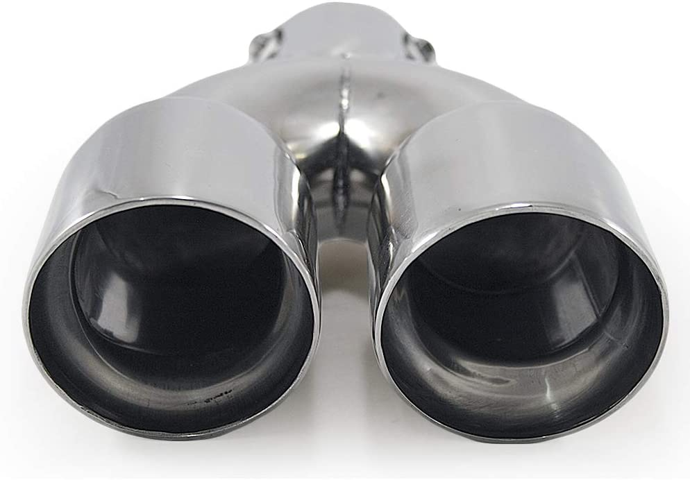 Universal 0206 Car Double Dual Twin Exhaust Tip Trim End Pipe Tail Sport Muffler Stainless Steel Chrome