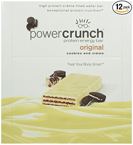 Power Crunch High Protein Energy Snack, Cookies & Creme, 1.4-Ounce Bars (Pack of 12) (Cookies Bar Creme Protein)