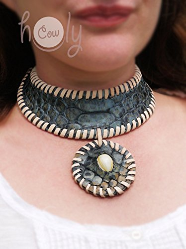 Medieval Handmade Blue Snake Print Leather Seashell Accent Collar