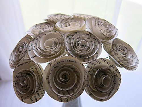 Classic Book Page Roses on Stems, Paper Flowers Bouquet, One Dozen Paper Roses, 1.5