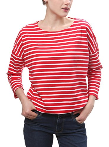 Wide Striped Shirt (Urban CoCo Women's Red and White Striped Loose T-Shirt (L, Wide Red Stripe))
