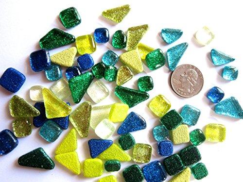 - 50 Blue and Green Glitter Glass Mosaic Tiles, Mini Geometric Mosaic Pieces, Mosaic Art Supply