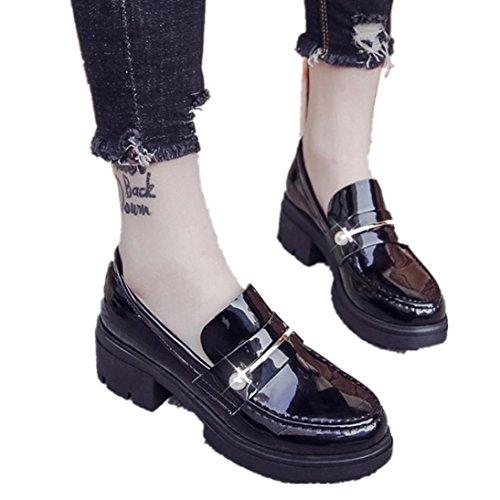 Fheaven Zapatos Ocasionales De Plataforma Baja Para Mujer Zapatos De Tobillo Con Punta Redonda De Cuero Negro