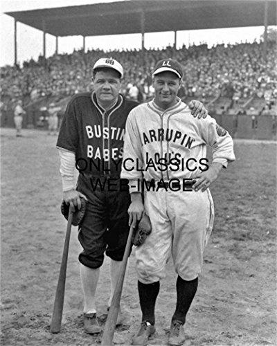 (OnlyClassics Babe Ruth Lou Gehrig BARNSTORM Baseball 8x10 Photo Bustin' Babes LARRUPIN)