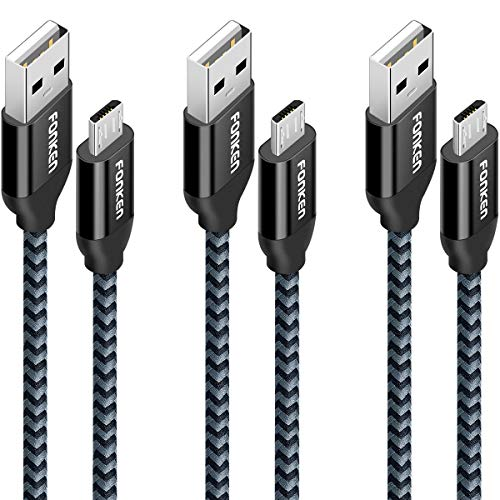 Micro USB Cable 10ft, Fonken Extra Long Fast Charging Cord [3-Pack] Nylon braided USB 2.0 Cable Quick Charging and Data Sync Cord Android Charger Cable for Samsung, Nexus, LG, Motorola, Sony (Black)
