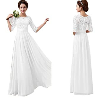 Women's Dress Xinantime Lace Chiffon Dress Evening Dress Bridesmaid Dresses (M, White)