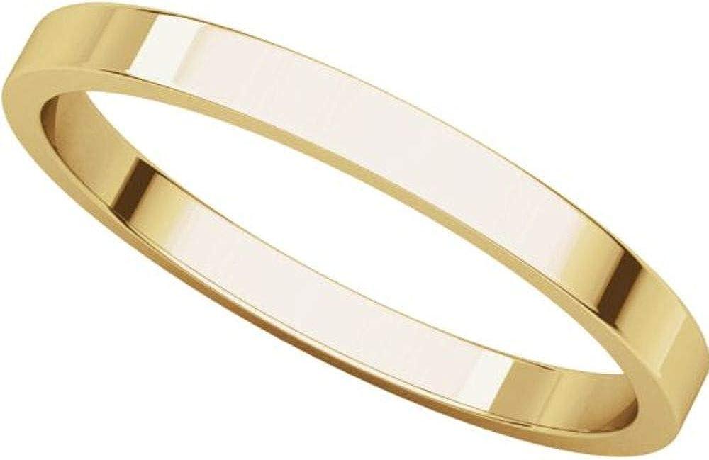 Bonyak Jewelry 18k Yellow Gold 2 mm Flat Band Size 12