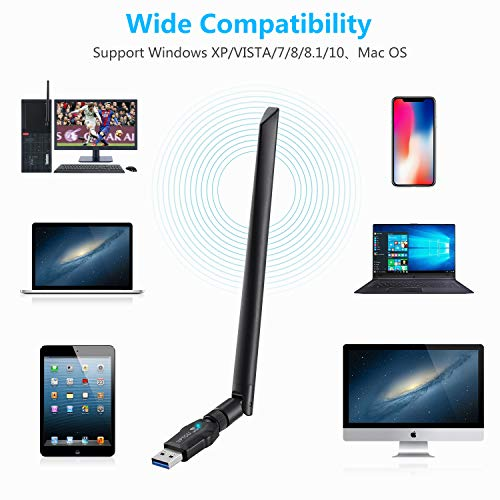 USB3.0 Dual Band 2.4//5GHz 802.11 ac Wireless Network Adapter for PC,5dBi Antenna WiFi Dongle Supports Windows 10//8//8.1//7//Vista//XP,Mac OS UPTOU 1200Mbps USB WiFi Adapter