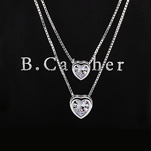 3e0c845c0 B.Catcher Pendant Necklace Jewelry for Women 925 Sterling Silver Cubic  Zirconia Double Heart Layer