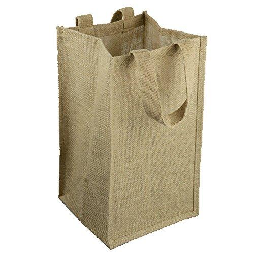- Natural Jute Burlap Wine Gift Tote Bag Wine Carrier Holder w/ Divider (4 Bottle Wine Carrier)