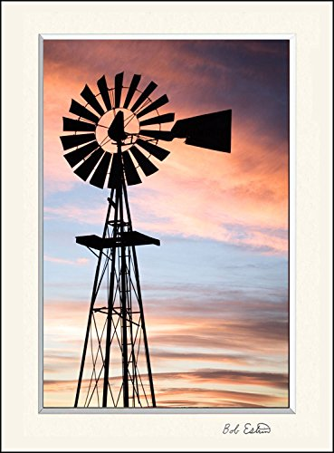 16 x 20 mat including photograph of the vintage rustic farm windmill. This country ranch setting at sunset was a beautiful scene. ()