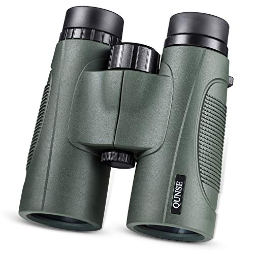 QUNSE 10×42 Binocular, BAK4 & FMC Lightweight HD Waterproof Binoculars with Low Light Night Vision for Birding & Stargazing Come with Phone Adapter, Tripod Mount & Wire Shutter etc (Green) Review