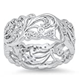 Cutout Eternity White CZ Polished Ring New .925 Sterling Silver Band Size 10