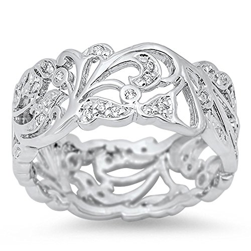 - Cutout Eternity White CZ Polished Ring New .925 Sterling Silver Band Size 9