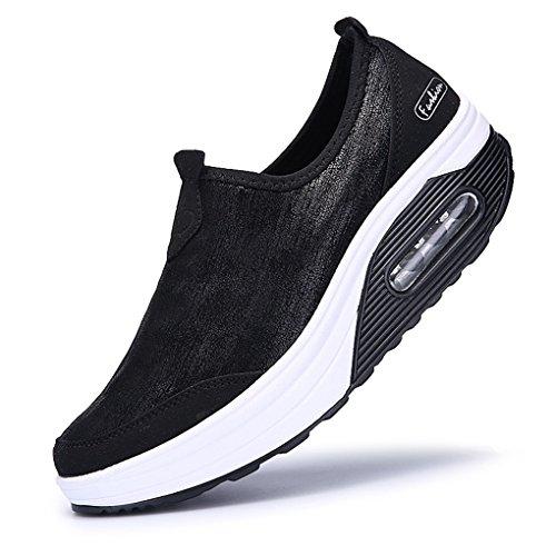 Cyber mode Femmes Exercice Chaussures De Marche Athlétiques Pour Les Sports De Plein Air Running Travel Wedge Espadrilles Noir