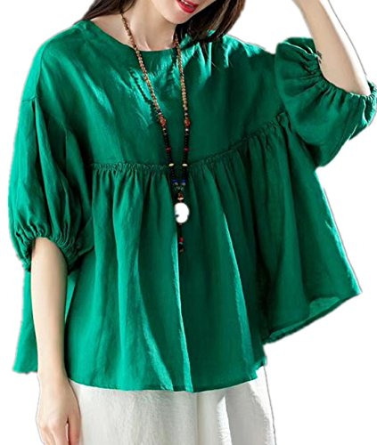 YESNO Y44 Women Casual Loose Doll Tops Blouse 100% Linen 'A' Skirt Gathered Waist 1/2 Puff Sleeve - Puff Shoulder Dress