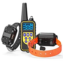 Dog Training Collar, Veckle Waterproof Dog Shock Collar with Remote 2600ft Dog Electronic Collar Sprayproof Training with LED Beep Vibration Shock Collar for Large and Medium Dogs Training for 2 Dogs