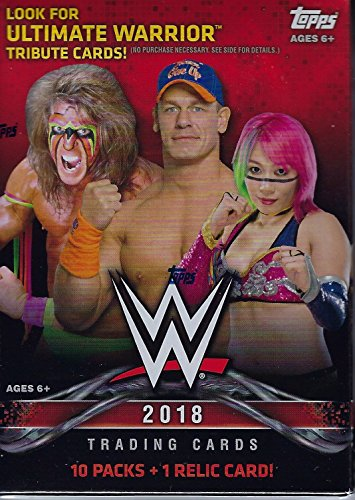 - 2018 Topps WWE Wrestling Series Unopened Box of Packs with One GUARANTEED Authentic Relic Card Per Box plus 70 additional cards including Ultimate Warrior Tribute Cards