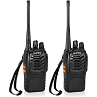 BaoFeng 16CH FM UHF 400-470MHz Talkie Walkie Transceiver 2-way Radio Portable Handheld Interphone Long Distance 1500mah Battery Flashlight(2PCS)