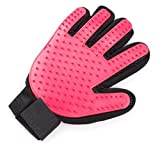 Pet Grooming Glove 2 in 1 Left and Right Hand Glove (1 Pair) - Happy Paws - Hair Remover and Deshedding Tool - Perfect for Dogs, Cats and Small Pets with Short or Long Fur (Pink)