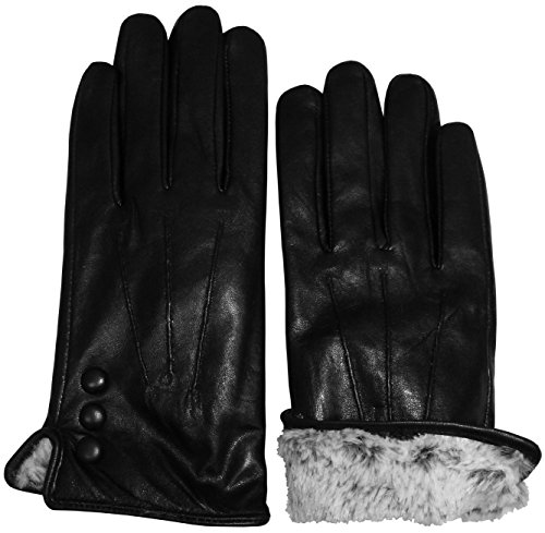 N'Ice Caps Womens and Mens Genuine Kid Leather Gloves With Plush Lining (Women's Medium, Black with Touchscreen)