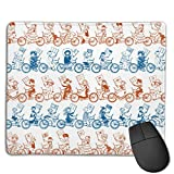 Pan-Tandem Bike Ride Mouse Mat Desk Pad with Non-Slip Rubber Base 18x22cm