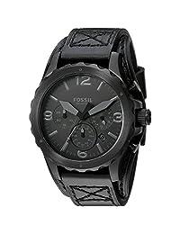 Fossil Men's Black Leather Band Steel Case Quartz Chronograph Watch JR1510