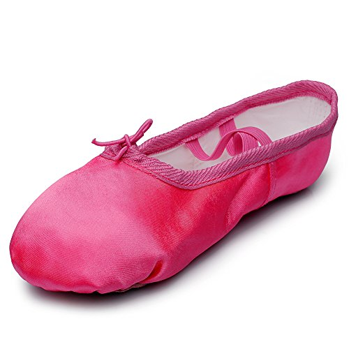 Kid Girl's Satin Practise Ballet Slipper Yoga Shoe,Rose,Little Kid,11 M US