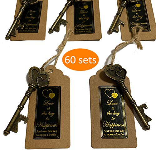 Key Bottle Openers 60 packs- with Escort Tag Card, Love is the Key to Happiness Sticker, Wedding Party Favors, Thanksgiving, Baby Shower and Special Events Decoration (Bronze Double Heart Style) -