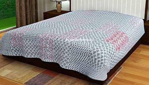 (Handicraftofpinkcity Gray Color Kantha Reversible Quilt Queen/Double Size made with Organic Cotton, Soft and Lightweight; Breathable and Absorbent; Durable and Eco Friendly Bedspread or Throw Blanket)