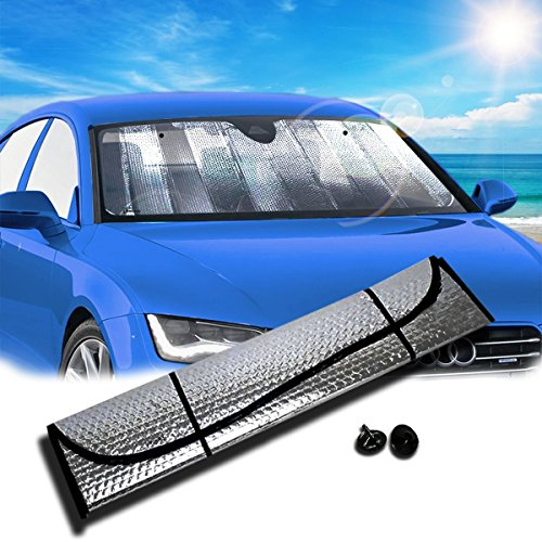 (Zento Deals Silver Accordion Sunshade Car Windshield Sun Shade Reflector)