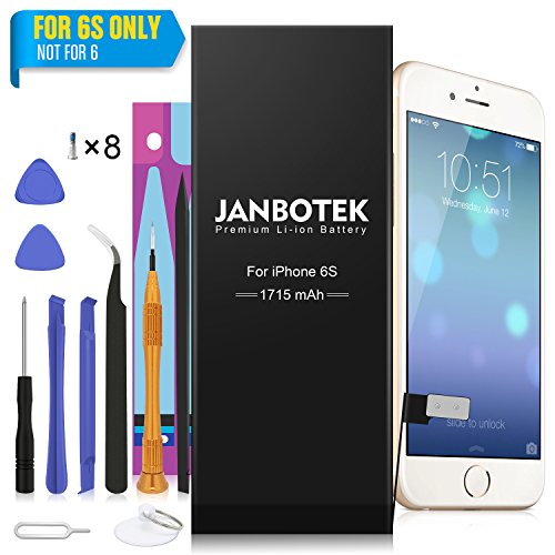 JANBOTEK Internal Li-ion Battery for iP 6S with Complete Repair Tools Kit and Instructions - 24 Month Warranty (For 6S Only)